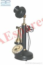 NEW ANTIQUE BRASS CANDLE STICK TYPE TELEPHONE BLACK VINTAGE OLD