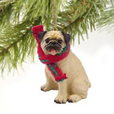 PUG Dog ORNAMENT Resin Figurine statue NEW fawn brown puppy Christmas Holiday