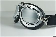 Old-fashioned Aviator Pilot motorcycle Goggles Sunglasses Eye Wear Silver Lens