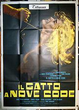 manifesto 4F film IL GATTO A NOVE CODE Dario Argento 1971 tipo A