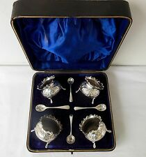 Cased Set of Four Silver Salts with Spoons