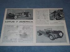 """1962 Lotus 7 America Vintage Road Test Info Article """"What is it Daddy?..."""""""