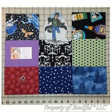 BonEful Fabric COTTON QUILT Lot Black Blue Harry Potter Wizard Potion Magic Star