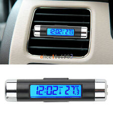 2in1 Digital LED Car Clock Thermometer Temperature LCD Backlight Without Battery