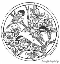 Circle Spring Chickadees, Wood Mounted Rubber Stamp New NORTHWOODS - PP7427