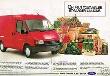Publicité Advertising 1988 (2 pages) Camionette Utilitaire Ford Transit