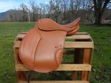 """USED 17"""" LEATHER ENGLISH HORSE ALL PURPOSE CLOSE CONTACT EVENT JUMPING SADDLE"""