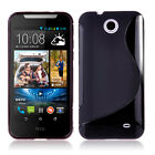 BLACK S CURVE GEL TPU Jelly CASE COVER FOR Telstra HTC Desire 310