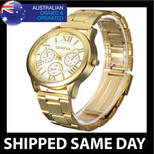 GENEVA WOMENS MENS ROMAN FASHION DRESS WATCH Ladies Gold Stainless Steel T2