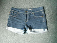 Moto Denim Shorts Jeans Size 10 Faded Dark Blue Ladies Jeans