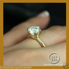 2.00 Carat Round Man-made Diamond Solitaire Engagemet Ring 14k Yellow Gold SALE!
