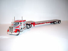 DCP 1/64 SILVER AND RED 379 PETERBILT WITH SLEEPER AND TRANSCRAFT STEP DECK