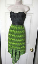 BEBE PRINTED SWEETHEART NECK HI LOW STRAPLESS MAXI DRESS NEW XLARGE XL