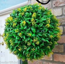 Best Artificial 40cm Yellow Flower Ball Lush Long Leaf Topiary Grass Plant New
