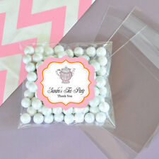 24 Pink Tea Party Personalized Clear Candy Bags Bridal Shower Wedding Favors