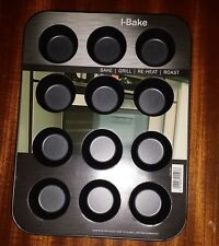 Mini Bun Muffin Metal Baking Tray Pan Non Stick 12 Cupcakes Canapes I Bake
