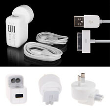 Dual USB AC Wall Charger w/ AU Plug + 2x 1M USB Cable for iPad 2 3 iPhone 4S 3G