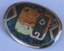 Vintage Sterling Silver Inlay Turquoise Pendant Brooch Nestor Taxco Mexico