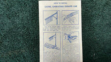 Lionel # 3376 Operating Giraffe Car Instructions Photocopy