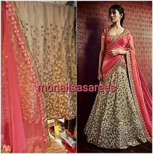 BOLLYWOOD DESIGNER GOLD  INDIAN LENGHA SEMI STITCHED ACTUAL PICS UK STOCK ETHNIC