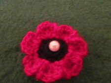 POPPY BROOCH HAND KNITTED WITH A PEARL CENTRE BLACK/RED BACK BROOCH PIN