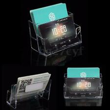 Acrylic 2 Pocket Business ID Card Holder Desk Stand Display Desktop Office Shelf