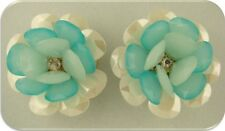 2 Hole Beads Flowers AQUA & Pearl White w/Clear Swarovski Crystal Elements Qty 2