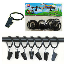 10 x Metal Rod Curtain Pole Rings with Hooks Rail Bracket Ring Black Colour NEW