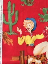 Cowgirl Pin Ups Fabric Western BACK IN THE SADDLE Retro 50s Girls Henry YARD