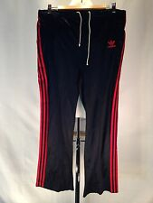 C683 VTG 80S STRIPED ADIDAS BLACK & RED STRIPED POLY BLEND PANTS MENS LARGE