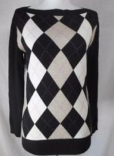 Banana Republic 100% Cashmere Tunic Sweater Sz S Black Ivory Geometric Boat Neck