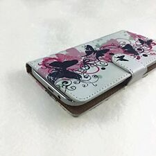 Mobile Flip Cover With Card For Medion Life S5004 / E5020 - Butterfly Pink M