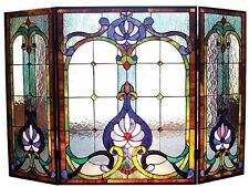 Victorian Tiffany Style Stained Glass Folding Fireplace Screen Panel New