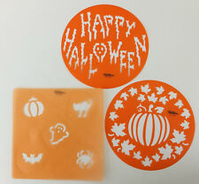 Happy Halloween Fall Round Cake & Cupcake Stencil Lot of 3 by Wilton Ghost Cat