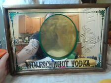 "Vintage Wolfschmidt Vodka Bar Mirror / Sign 19.5"" x 13.5"" Russian"