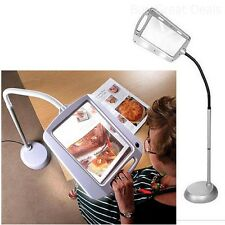 Magnifying Reading Glass Led Light 5x Magnifier Lamp Large Desk Floor Flexible