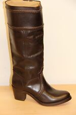 NIB FRYE JANE Extended Calf Leather Brown Riding Heel Boots Sz 8.5 Pull On