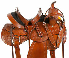 COMFY WESTERN PLEASURE TRAIL BARREL HORSE LEATHER SADDLE TACK SET 16 17 18