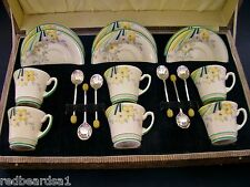 Crown Devon Rare Art Deco Cased Demitasse Coffee Set & Spoons England c1930's