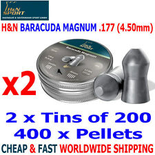 H&N BARACUDA MAGNUM  .177 4.50mm Airgun Pellets 2(tins)x200pcs FAC HUNTING & FT