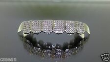 Sterling Silver Custom fit 8pc w/ 2ct LAB DIAMOND ICED OUT REAL GRILLZ