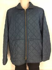 Barbour Flyweight Jacket Men M Medium Quilted Blue Zipper Lightweight Nylon D916