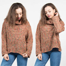 VINTAGE BROWN PINK WAFFLE KNIT JUMPER SWEATER ROLL NECK COWL CASUAL COMFY 14