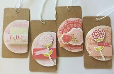 HELLO THERE Gift Tags(4pc)Pebbles •Floral•Pink•Girlfriends•Lace•For You •Because