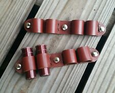 Pair of Brown Bolt-on 12ga shotgun shell loops leather SASS cowboy belt holder