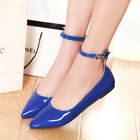 Fashion Casual Womens Girls Candy Flats Pumps Strap Pointy Toe Buckle Ankle Shoe