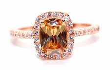Sterling Silver Rose Gold Plated Morganite And Diamond 1.89ct Ring (925)