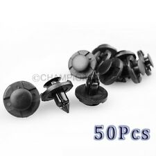 50Pcs*8mm Black Rivets Bumper Door Panel Fastener Push Type Clips For Nissan CT