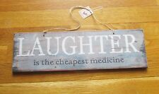 """Country Primitive Style Wood Sign """"Laughter Cheapest Medicine"""" Way Cool!"""