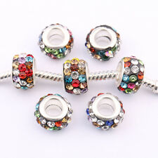 5/20Pcs Silver Plated Round Crystal Spacer Czech Beads Craft Findings DIY 5mm